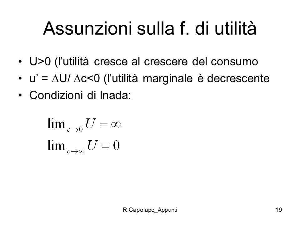 R.Capolupo_Appunti19 Assunzioni sulla f. di utilità U>0 (lutilità cresce al crescere del consumo u = U/ c<0 (lutilità marginale è decrescente Condizio