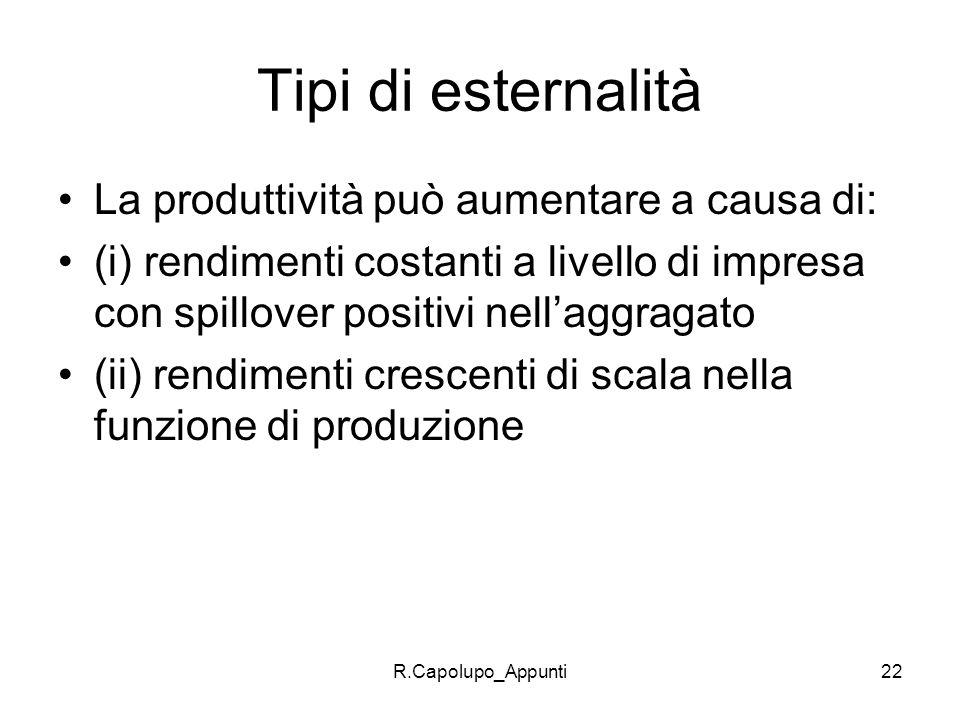 R.Capolupo_Appunti22 Tipi di esternalità La produttività può aumentare a causa di: (i) rendimenti costanti a livello di impresa con spillover positivi