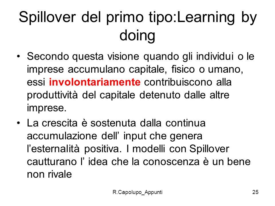 R.Capolupo_Appunti25 Spillover del primo tipo:Learning by doing Secondo questa visione quando gli individui o le imprese accumulano capitale, fisico o