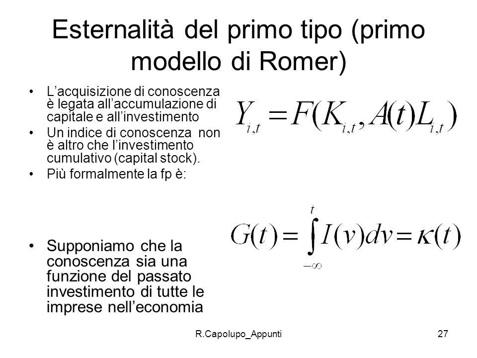 R.Capolupo_Appunti27 Esternalità del primo tipo (primo modello di Romer) Lacquisizione di conoscenza è legata allaccumulazione di capitale e allinvest