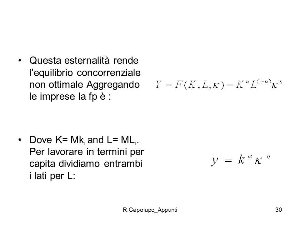 R.Capolupo_Appunti30 Questa esternalità rende lequilibrio concorrenziale non ottimale Aggregando le imprese la fp è : Dove K= Mk i and L= ML i. Per la