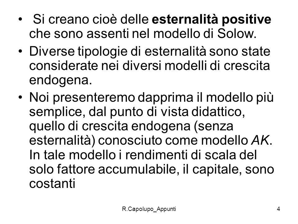 R.Capolupo_Appunti4 Si creano cioè delle esternalità positive che sono assenti nel modello di Solow. Diverse tipologie di esternalità sono state consi