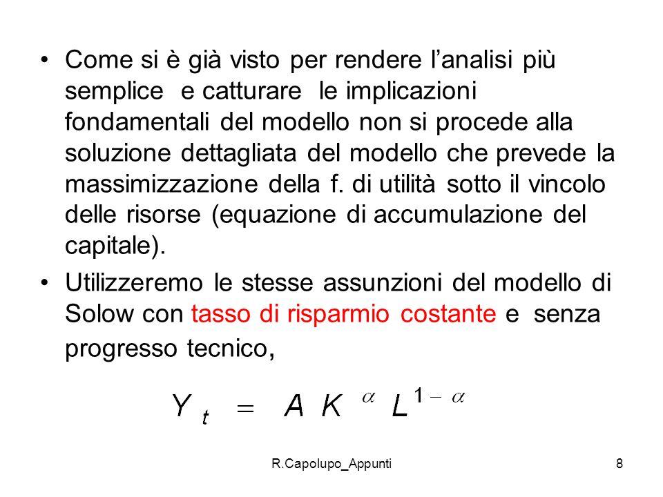 R.Capolupo_Appunti8 Come si è già visto per rendere lanalisi più semplice e catturare le implicazioni fondamentali del modello non si procede alla sol