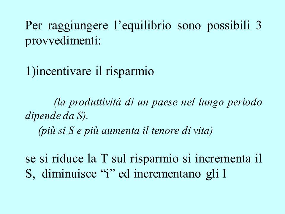 Per raggiungere lequilibrio sono possibili 3 provvedimenti: 1)incentivare il risparmio (la produttività di un paese nel lungo periodo dipende da S).