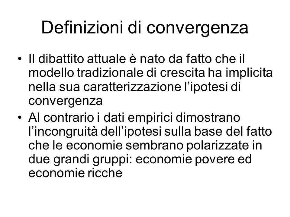 Definizioni di convergenza Il dibattito attuale è nato da fatto che il modello tradizionale di crescita ha implicita nella sua caratterizzazione lipotesi di convergenza Al contrario i dati empirici dimostrano lincongruità dellipotesi sulla base del fatto che le economie sembrano polarizzate in due grandi gruppi: economie povere ed economie ricche