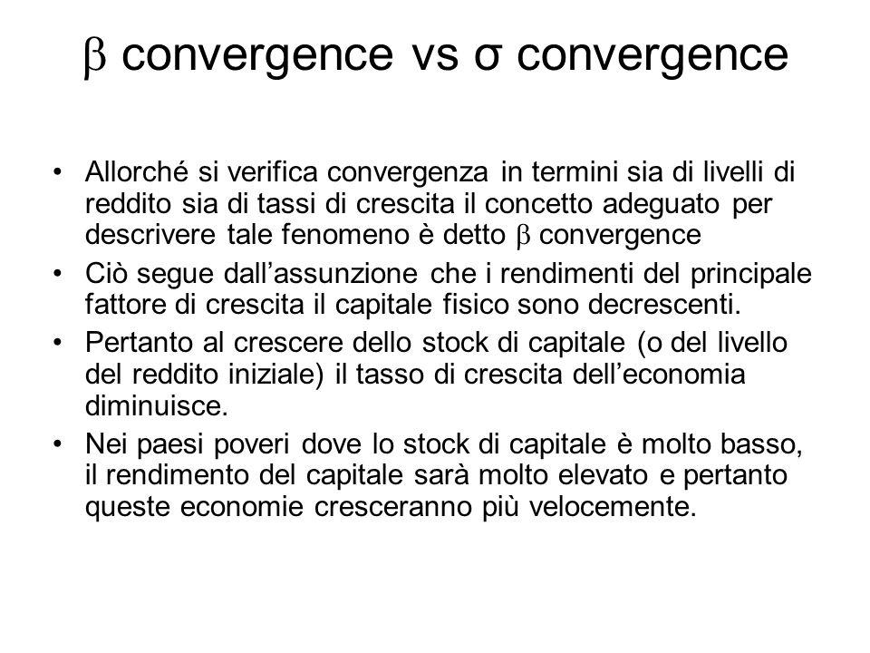 convergence vs σ convergence Allorché si verifica convergenza in termini sia di livelli di reddito sia di tassi di crescita il concetto adeguato per descrivere tale fenomeno è detto convergence Ciò segue dallassunzione che i rendimenti del principale fattore di crescita il capitale fisico sono decrescenti.