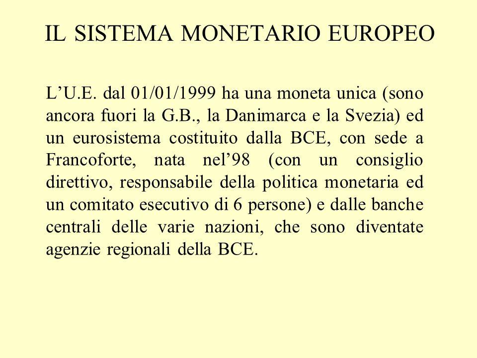 IL SISTEMA MONETARIO EUROPEO LU.E. dal 01/01/1999 ha una moneta unica (sono ancora fuori la G.B., la Danimarca e la Svezia) ed un eurosistema costitui