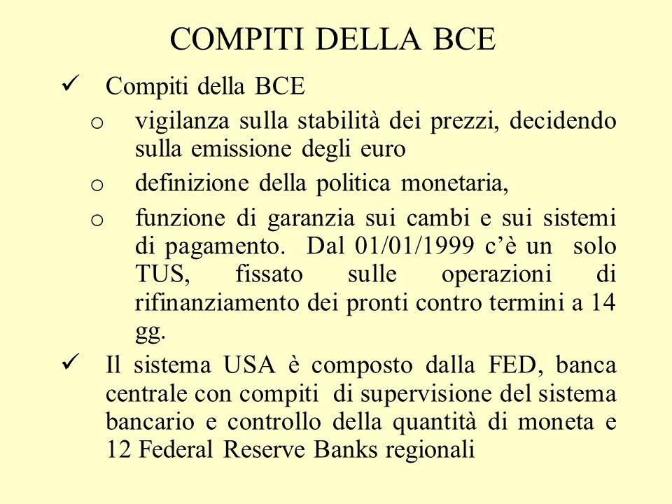 COMPITI DELLA BCE Compiti della BCE o vigilanza sulla stabilità dei prezzi, decidendo sulla emissione degli euro o definizione della politica monetari