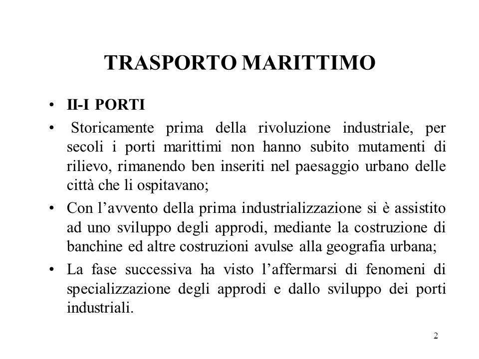 2 TRASPORTO MARITTIMO II-I PORTI Storicamente prima della rivoluzione industriale, per secoli i porti marittimi non hanno subito mutamenti di rilievo,
