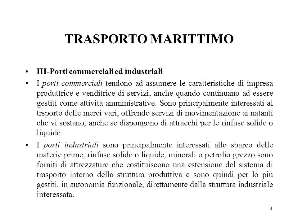 4 TRASPORTO MARITTIMO III-Porti commerciali ed industriali I porti commerciali tendono ad assumere le caratteristiche di impresa produttrice e venditr