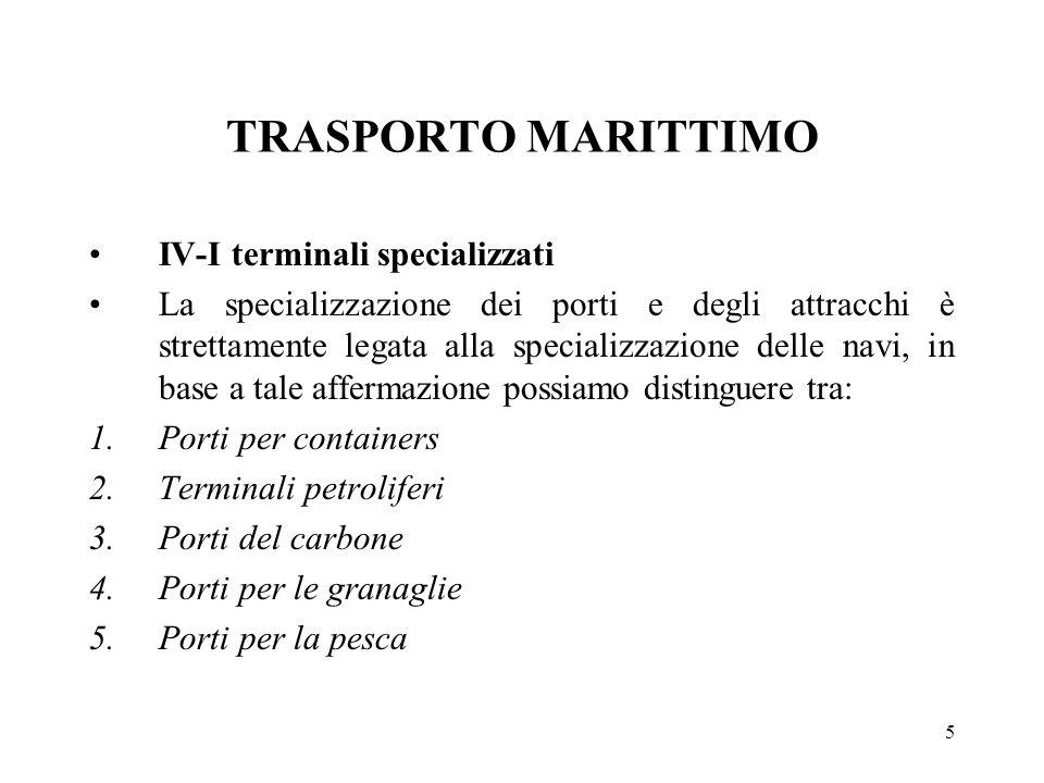 5 TRASPORTO MARITTIMO IV-I terminali specializzati La specializzazione dei porti e degli attracchi è strettamente legata alla specializzazione delle n