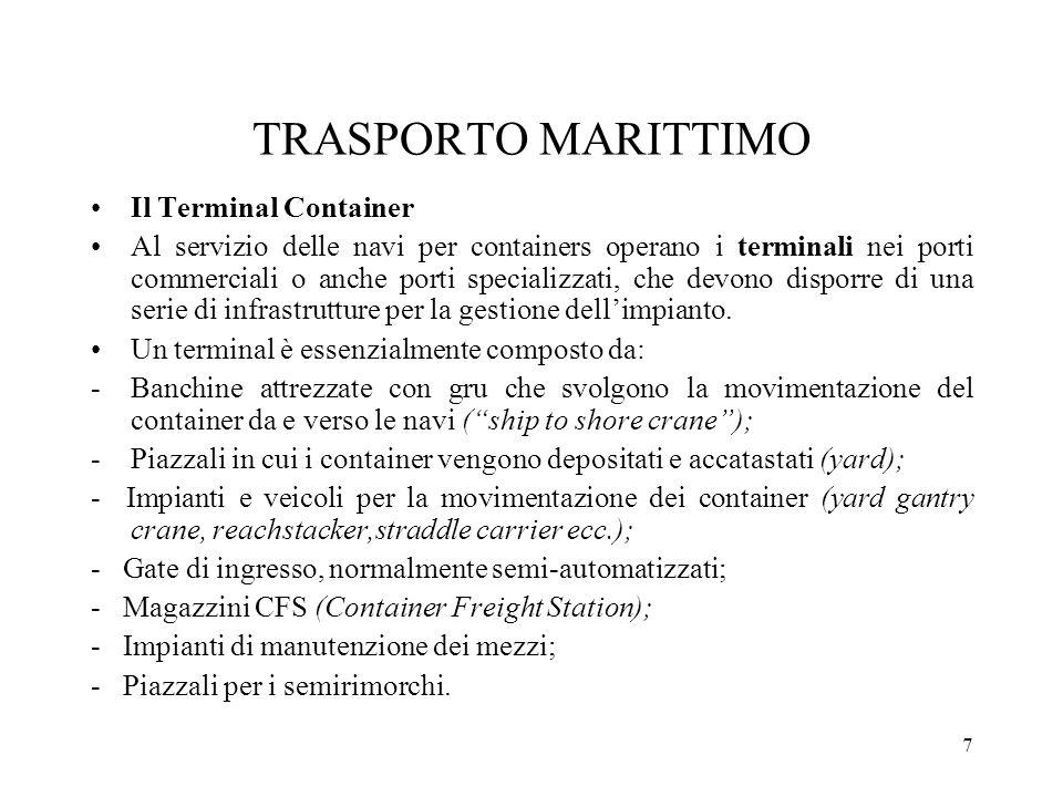 7 TRASPORTO MARITTIMO Il Terminal Container Al servizio delle navi per containers operano i terminali nei porti commerciali o anche porti specializzat