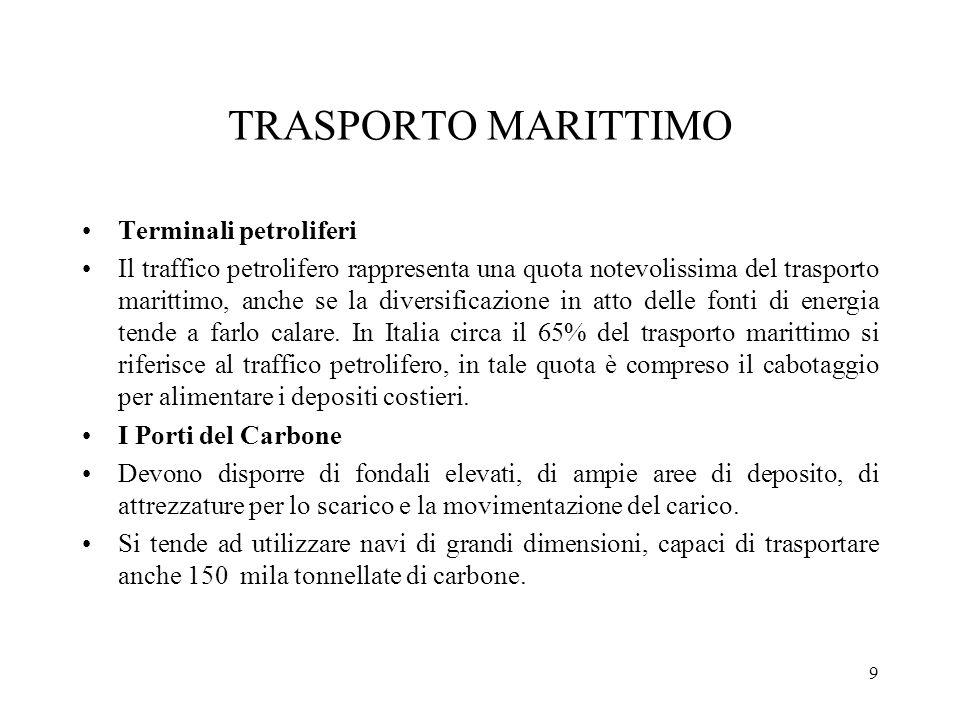 9 TRASPORTO MARITTIMO Terminali petroliferi Il traffico petrolifero rappresenta una quota notevolissima del trasporto marittimo, anche se la diversifi