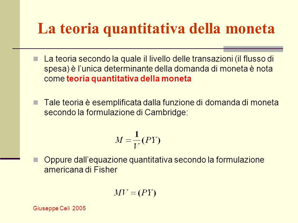 Giuseppe Celi 2005 La teoria quantitativa della moneta La teoria secondo la quale il livello delle transazioni (il flusso di spesa) è lunica determinante della domanda di moneta è nota come teoria quantitativa della moneta Tale teoria è esemplificata dalla funzione di domanda di moneta secondo la formulazione di Cambridge: Oppure dallequazione quantitativa secondo la formulazione americana di Fisher
