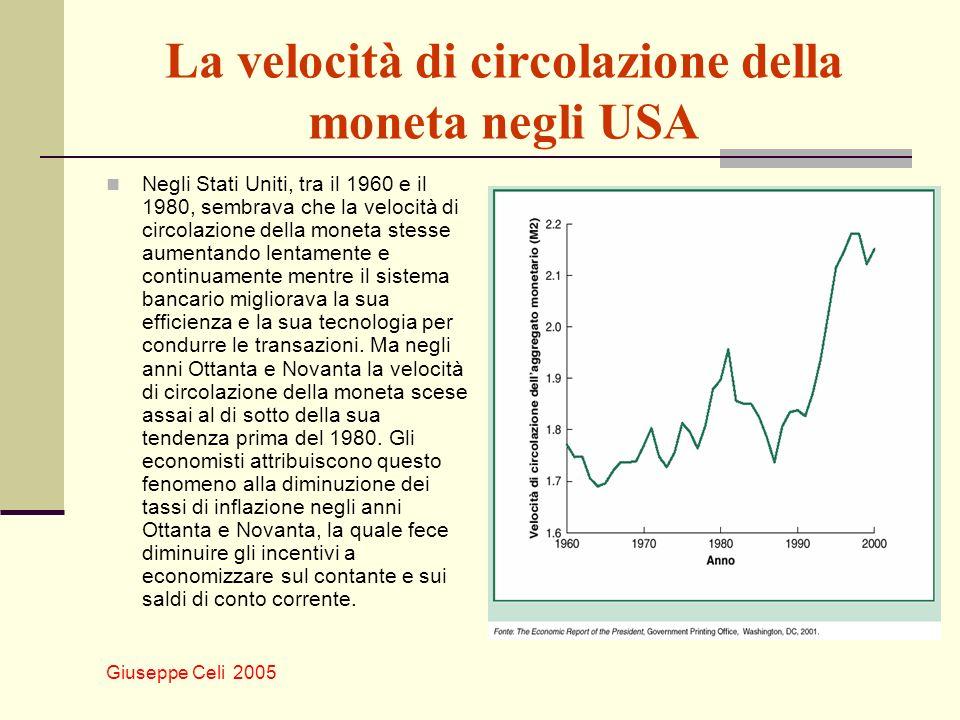 Giuseppe Celi 2005 La velocità di circolazione della moneta negli USA Negli Stati Uniti, tra il 1960 e il 1980, sembrava che la velocità di circolazione della moneta stesse aumentando lentamente e continuamente mentre il sistema bancario migliorava la sua efficienza e la sua tecnologia per condurre le transazioni.