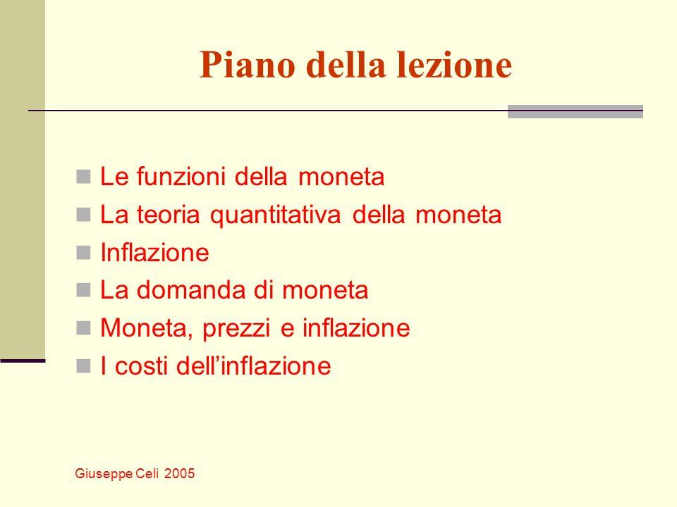 Giuseppe Celi 2005 Piano della lezione Le funzioni della moneta La teoria quantitativa della moneta Inflazione La domanda di moneta Moneta, prezzi e inflazione I costi dellinflazione