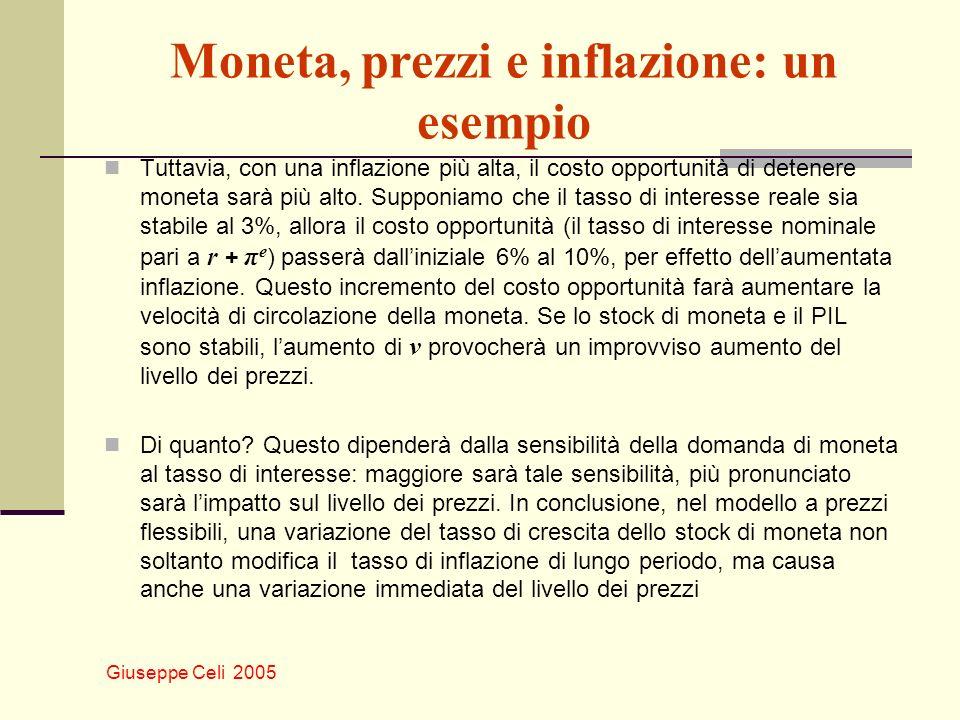 Giuseppe Celi 2005 Moneta, prezzi e inflazione: un esempio Tuttavia, con una inflazione più alta, il costo opportunità di detenere moneta sarà più alto.