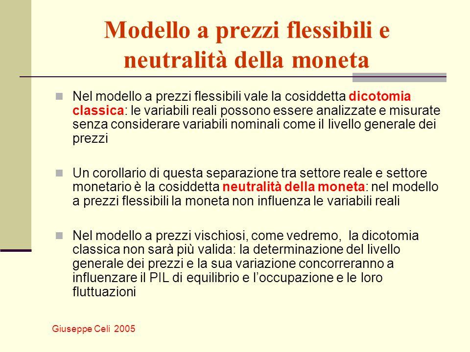 Giuseppe Celi 2005 Moneta, prezzi e inflazione Consideriamo ora congiuntamente lequazione del livello dei prezzi e lequazione del tasso di inflazione π = m + v – y