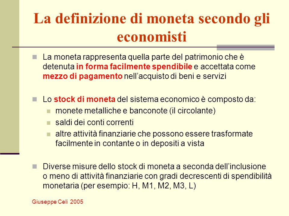 Giuseppe Celi 2005 Moneta, prezzi e inflazione: un esempio Riprendiamo, come punto di partenza, lesempio precedente π = 6% + 1% – 4%= 3% Supponiamo ora che lo stock di moneta passi repentinamente da un tasso di crescita del 6% ad un tasso di crescita del 10% su base annua.