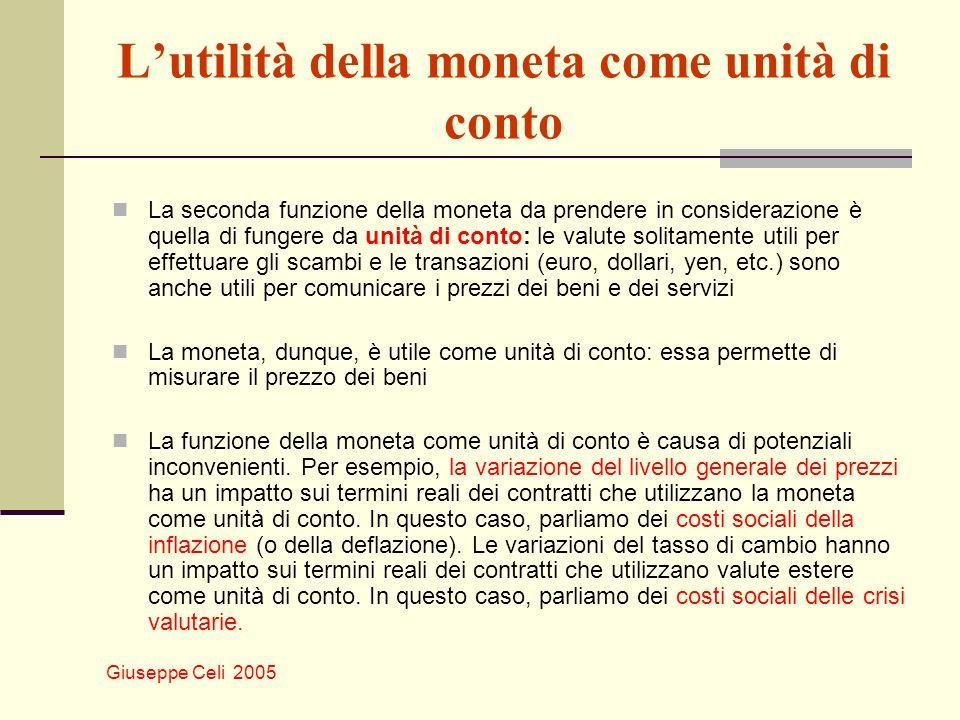 Giuseppe Celi 2005 La domanda di moneta La domanda di moneta dipende da due determinanti: dal livello delle transazioni dal suo costo opportunità (perdita di interessi e profitti derivanti da impieghi alternativi) Livello delle transazioni.
