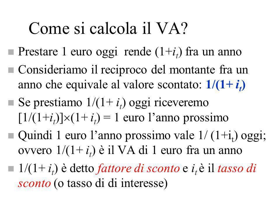 Come si calcola il VA? n Prestare 1 euro oggi rende (1+i t ) fra un anno n Consideriamo il reciproco del montante fra un anno che equivale al valore s