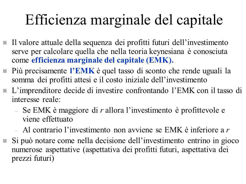 Efficienza marginale del capitale n Il valore attuale della sequenza dei profitti futuri dellinvestimento serve per calcolare quella che nella teoria