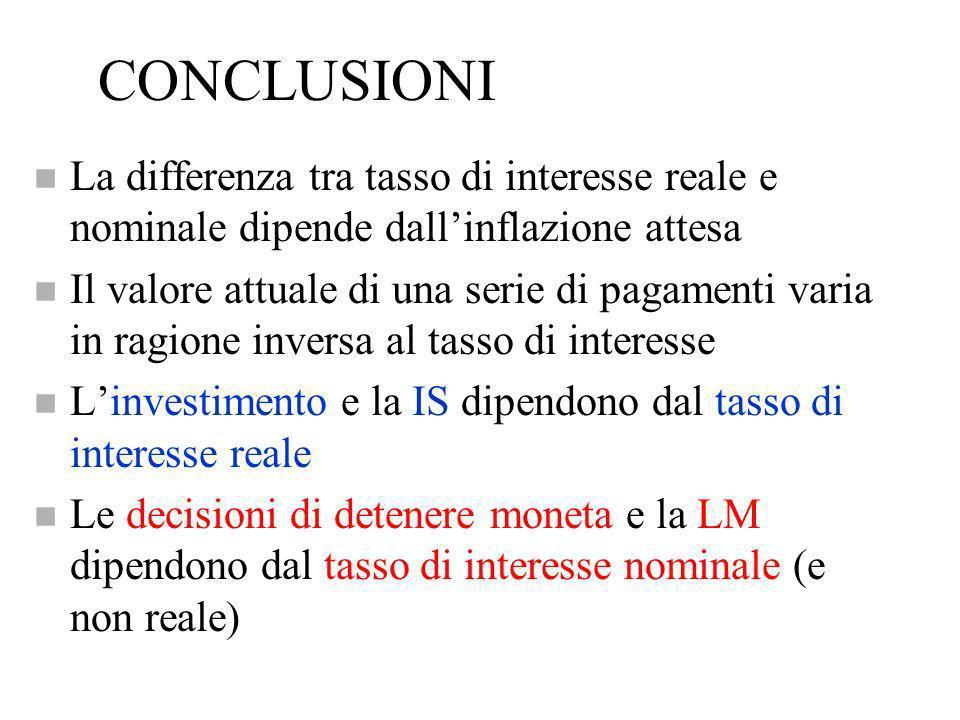 CONCLUSIONI n La differenza tra tasso di interesse reale e nominale dipende dallinflazione attesa n Il valore attuale di una serie di pagamenti varia