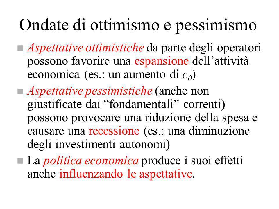 Ondate di ottimismo e pessimismo n Aspettative ottimistiche da parte degli operatori possono favorire una espansione dellattività economica (es.: un a