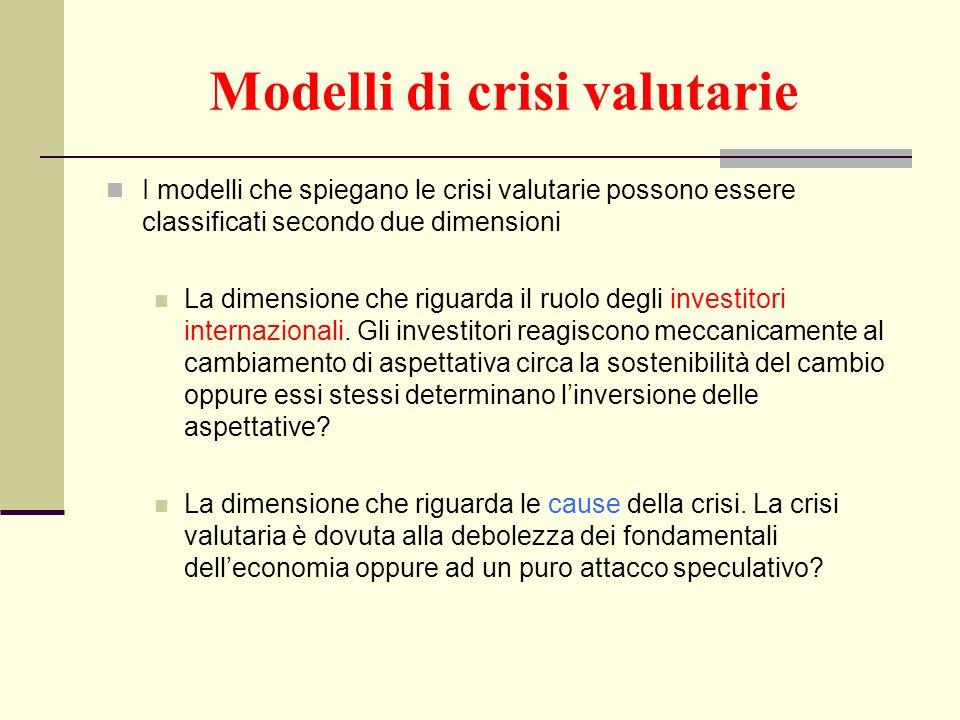 Modelli di crisi valutarie I modelli che spiegano le crisi valutarie possono essere classificati secondo due dimensioni La dimensione che riguarda il
