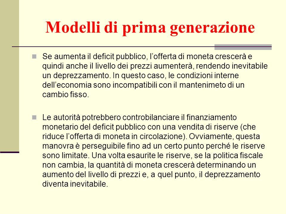 Modelli di prima generazione Se aumenta il deficit pubblico, lofferta di moneta crescerà e quindi anche il livello dei prezzi aumenterà, rendendo inev