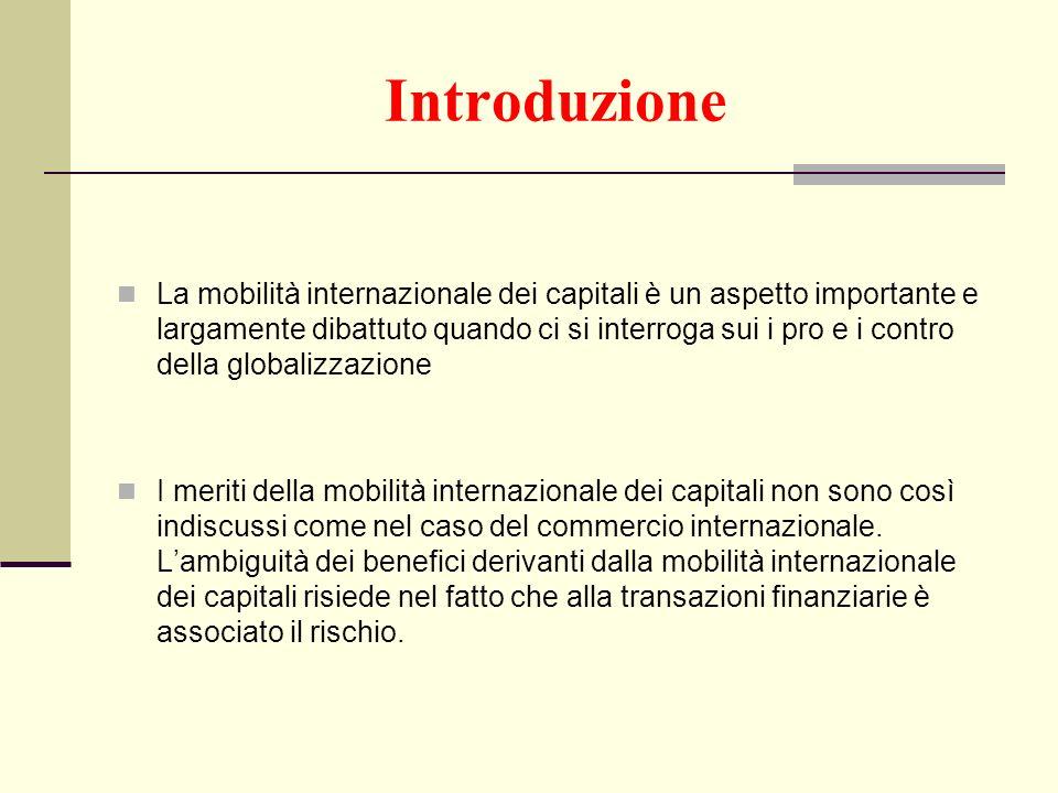 Introduzione La mobilità internazionale dei capitali è un aspetto importante e largamente dibattuto quando ci si interroga sui i pro e i contro della