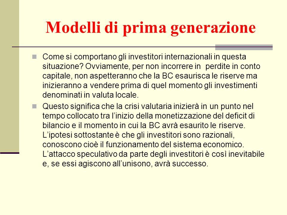 Modelli di prima generazione Come si comportano gli investitori internazionali in questa situazione? Ovviamente, per non incorrere in perdite in conto