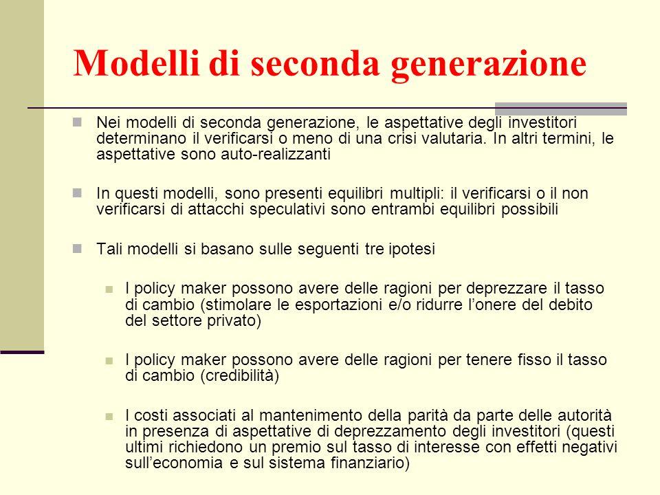 Modelli di seconda generazione Nei modelli di seconda generazione, le aspettative degli investitori determinano il verificarsi o meno di una crisi val