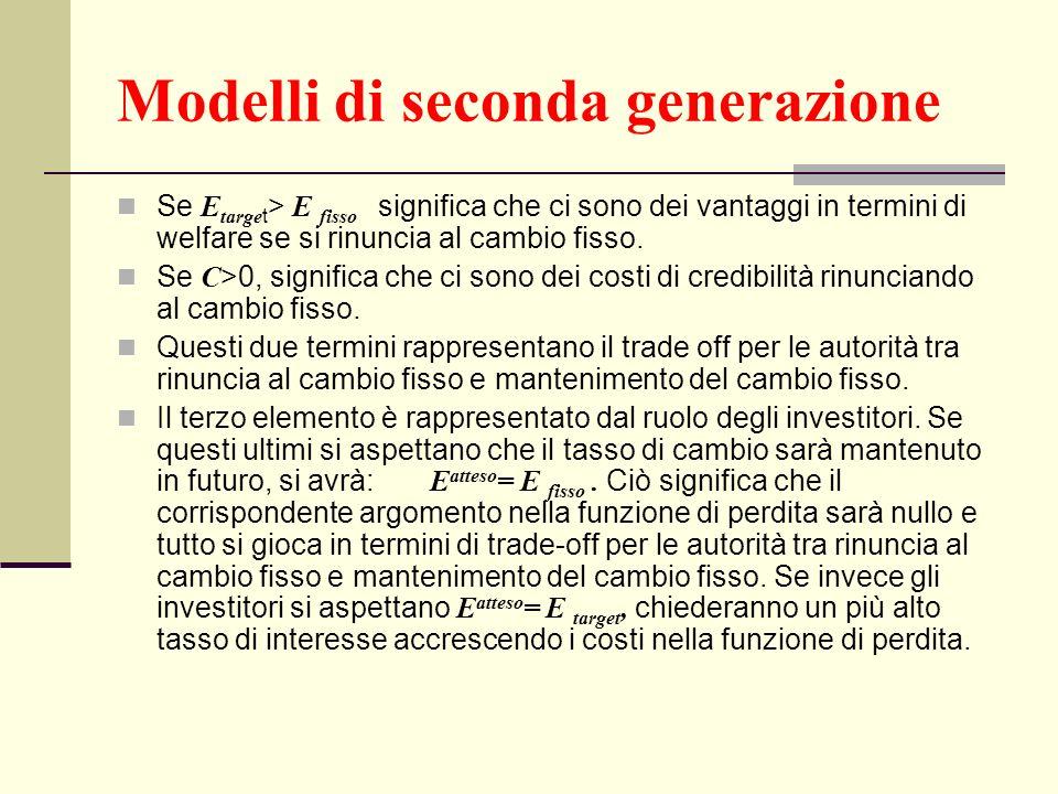 Modelli di seconda generazione Se E targe t > E fisso significa che ci sono dei vantaggi in termini di welfare se si rinuncia al cambio fisso. Se C >0
