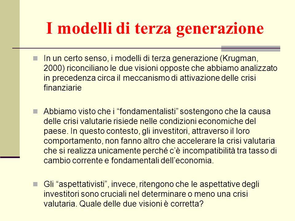 I modelli di terza generazione In un certo senso, i modelli di terza generazione (Krugman, 2000) riconciliano le due visioni opposte che abbiamo anali