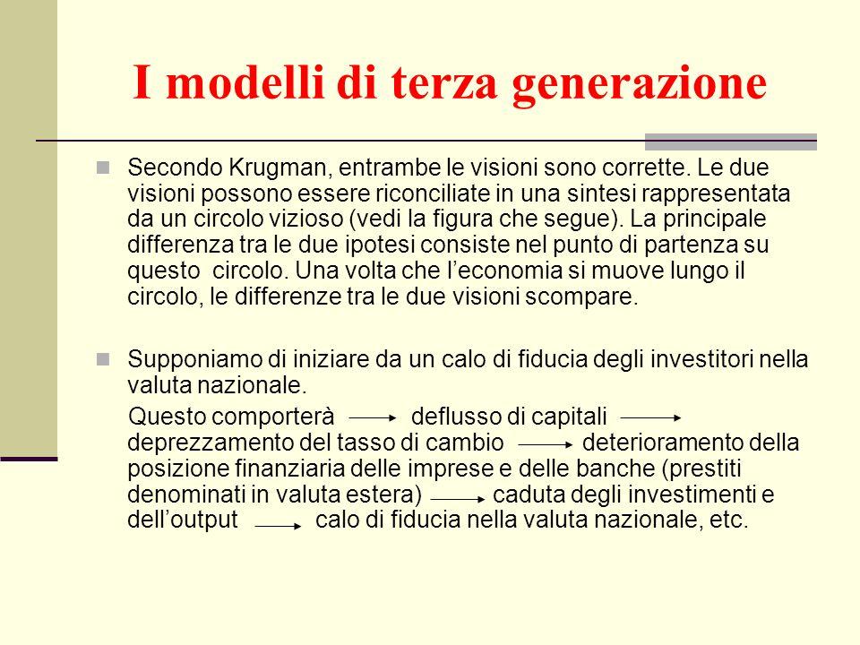 I modelli di terza generazione Secondo Krugman, entrambe le visioni sono corrette. Le due visioni possono essere riconciliate in una sintesi rappresen