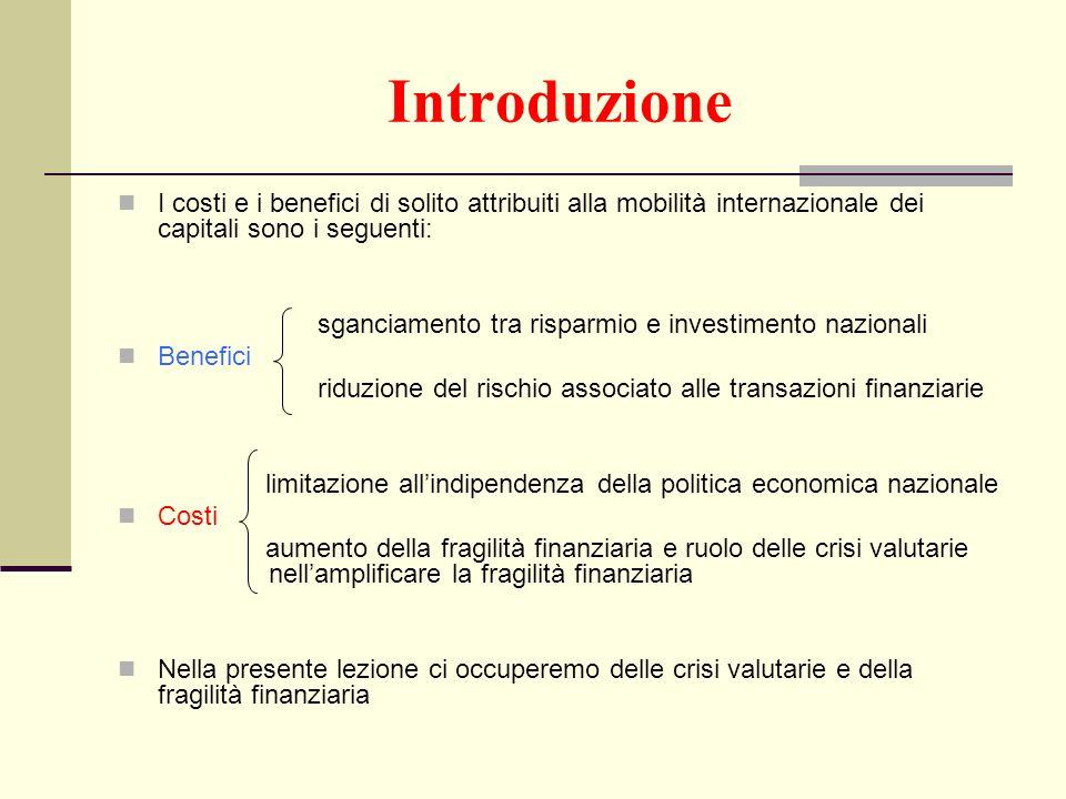 Introduzione I costi e i benefici di solito attribuiti alla mobilità internazionale dei capitali sono i seguenti: sganciamento tra risparmio e investi