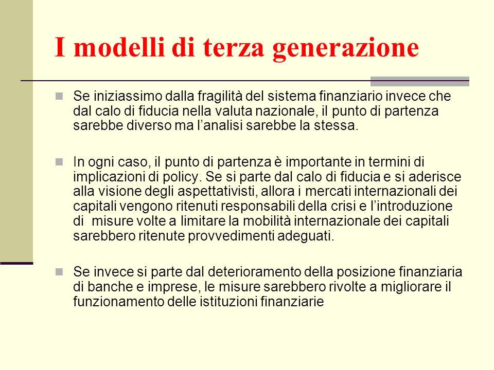 I modelli di terza generazione Se iniziassimo dalla fragilità del sistema finanziario invece che dal calo di fiducia nella valuta nazionale, il punto