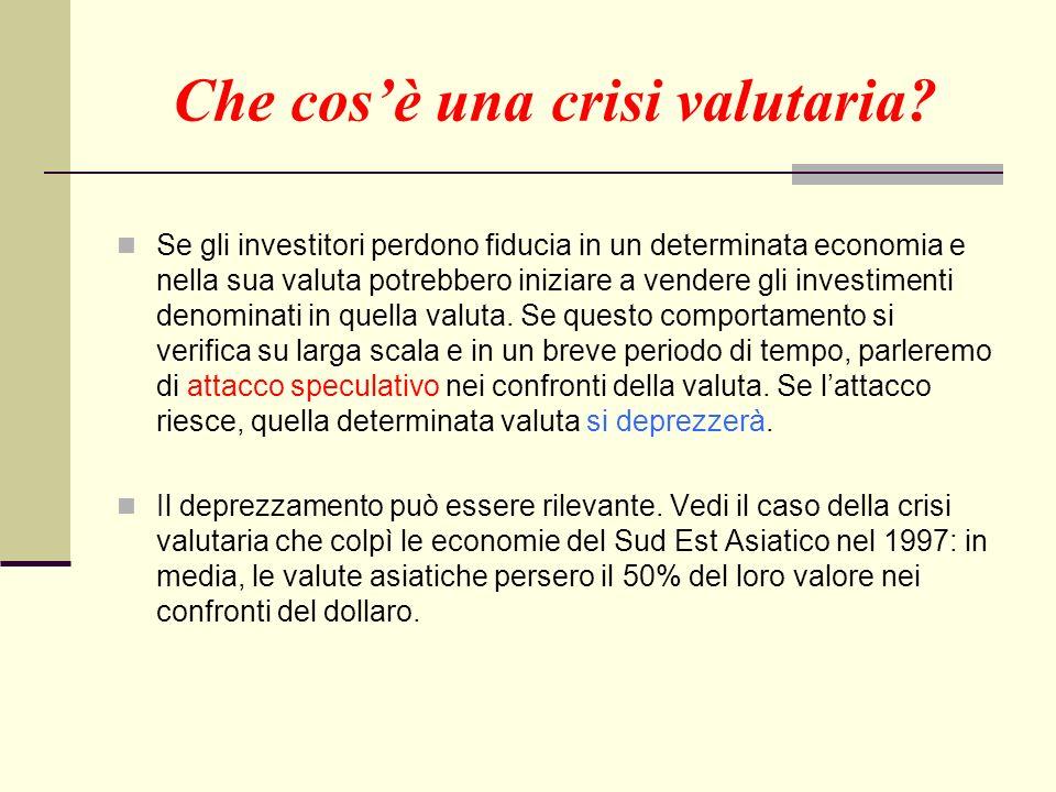 Che cosè una crisi valutaria? Se gli investitori perdono fiducia in un determinata economia e nella sua valuta potrebbero iniziare a vendere gli inves