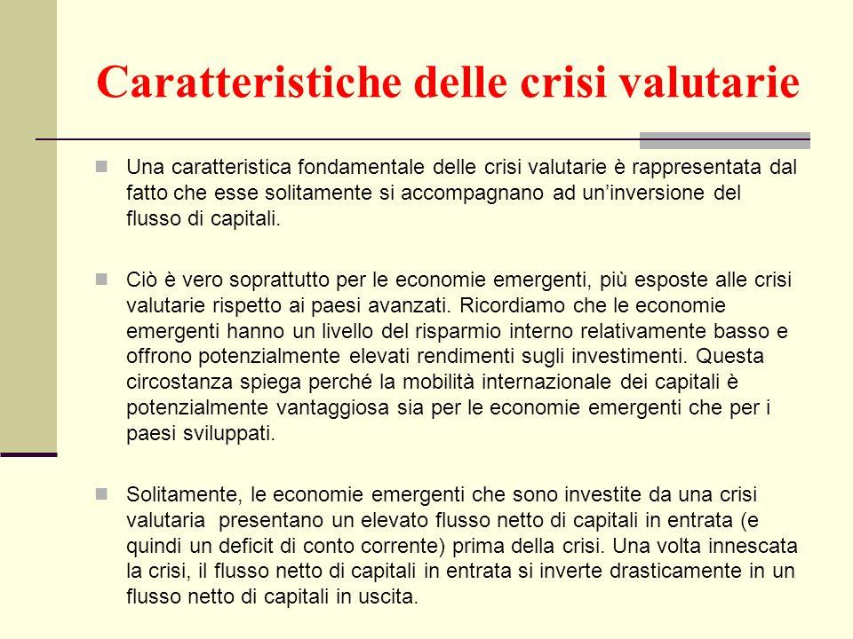 Caratteristiche delle crisi valutarie Una caratteristica fondamentale delle crisi valutarie è rappresentata dal fatto che esse solitamente si accompag
