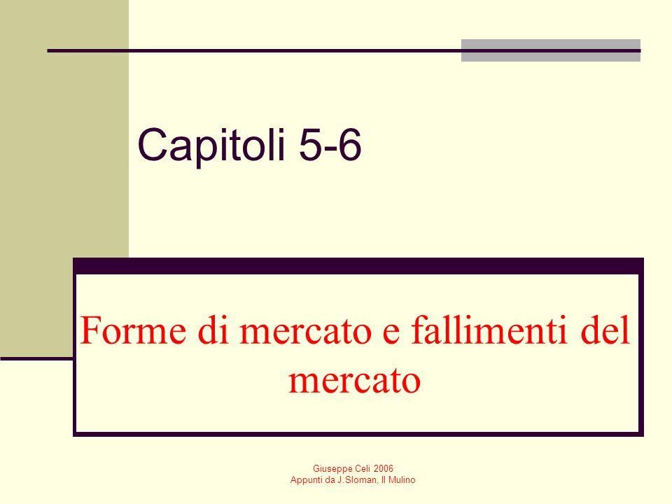 Giuseppe Celi 2006 Appunti da J.Sloman, Il Mulino I fallimenti del mercato Esternalità Beni pubblici Monopolio Informazione imperfetta