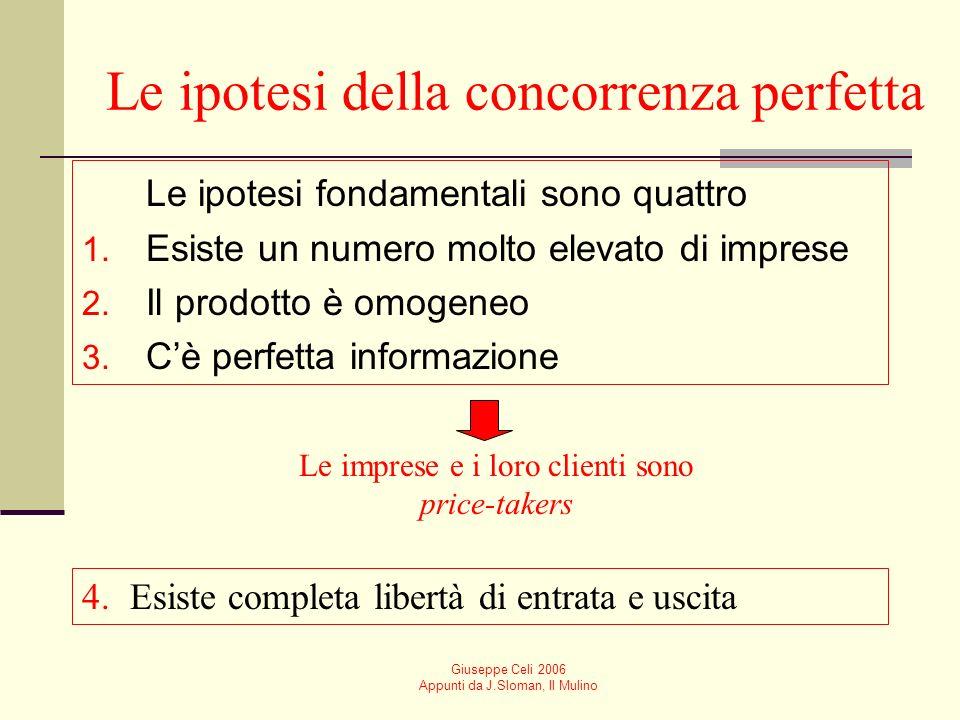 Giuseppe Celi 2006 Appunti da J.Sloman, Il Mulino Le ipotesi della concorrenza perfetta Le ipotesi fondamentali sono quattro 1.