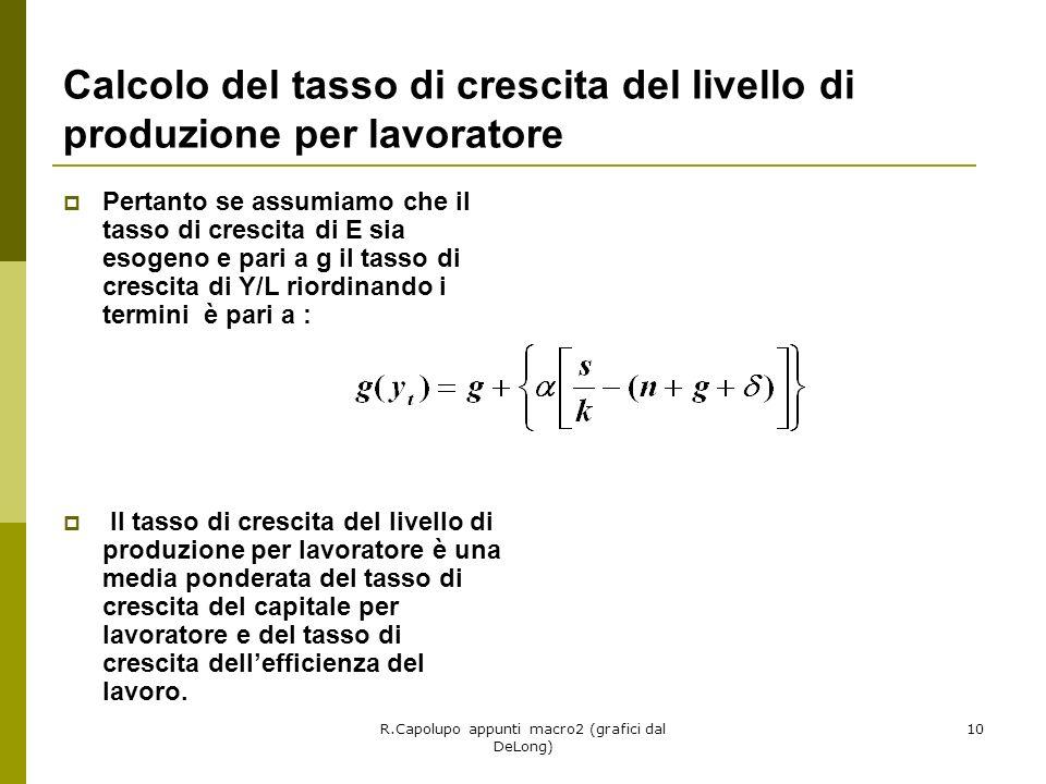 R.Capolupo appunti macro2 (grafici dal DeLong) 10 Calcolo del tasso di crescita del livello di produzione per lavoratore Pertanto se assumiamo che il