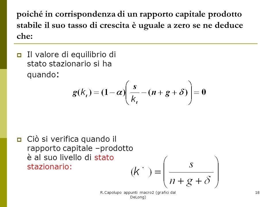 R.Capolupo appunti macro2 (grafici dal DeLong) 18 poiché in corrispondenza di un rapporto capitale prodotto stabile il suo tasso di crescita è uguale a zero se ne deduce che: Il valore di equilibrio di stato stazionario si ha quando : Ciò si verifica quando il rapporto capitale –prodotto è al suo livello di stato stazionario: