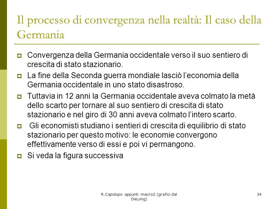R.Capolupo appunti macro2 (grafici dal DeLong) 34 Il processo di convergenza nella realtà: Il caso della Germania Convergenza della Germania occidentale verso il suo sentiero di crescita di stato stazionario.
