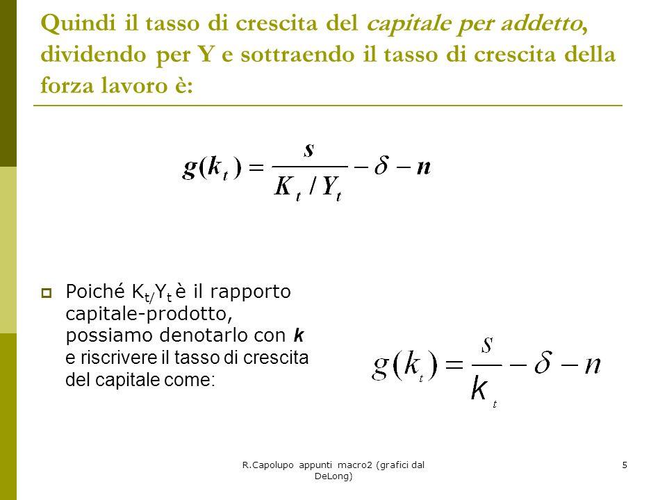 R.Capolupo appunti macro2 (grafici dal DeLong) 5 Quindi il tasso di crescita del capitale per addetto, dividendo per Y e sottraendo il tasso di crescita della forza lavoro è: Poiché K t/ Y t è il rapporto capitale-prodotto, possiamo denotarlo con k e riscrivere il tasso di crescita del capitale come:
