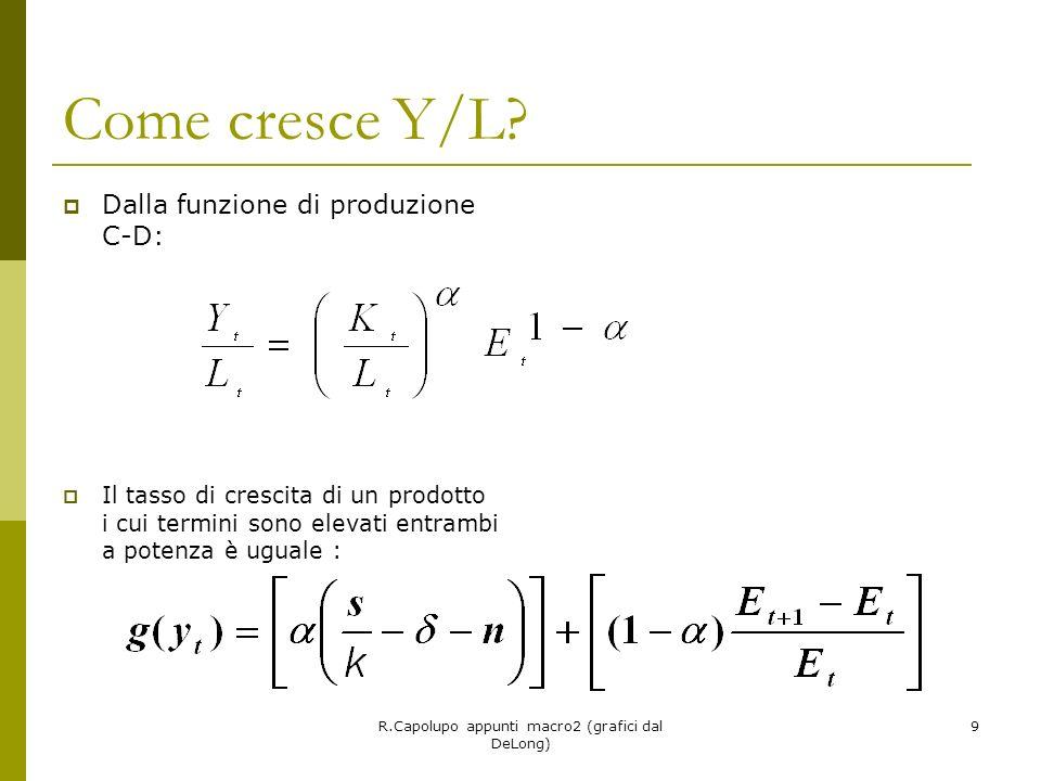 9 Come cresce Y/L? Dalla funzione di produzione C-D: Il tasso di crescita di un prodotto i cui termini sono elevati entrambi a potenza è uguale :
