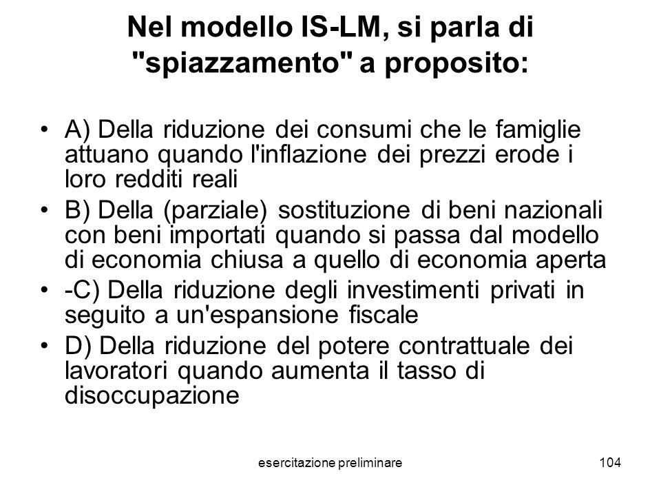 esercitazione preliminare104 Nel modello IS-LM, si parla di
