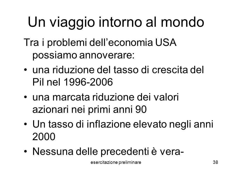 esercitazione preliminare38 Un viaggio intorno al mondo Tra i problemi delleconomia USA possiamo annoverare: una riduzione del tasso di crescita del P