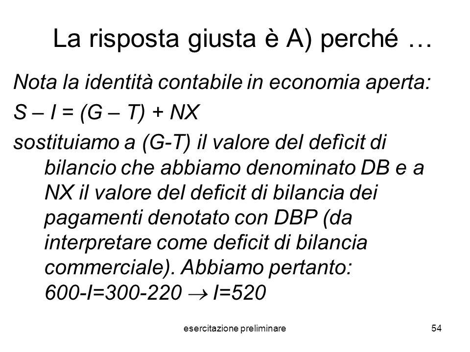 esercitazione preliminare54 La risposta giusta è A) perché … Nota la identità contabile in economia aperta: S – I = (G – T) + NX sostituiamo a (G-T) i